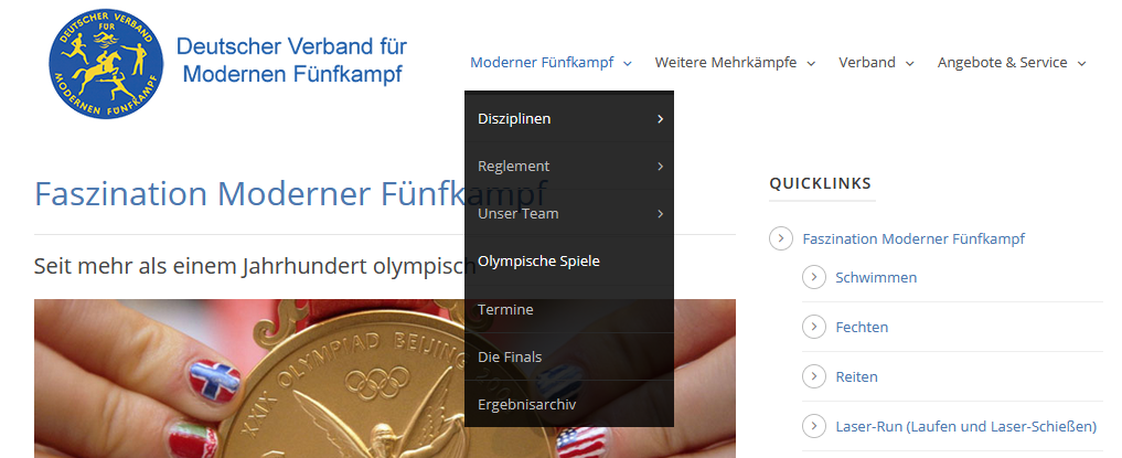 Ankündigung DVMF Olympia Webseite Navigation